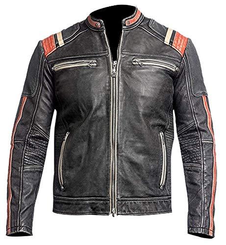 Men Vintage Biker Retro 3 Motorcycle Distressed Leather Jacket Cafe Racer Moto Black (XL)