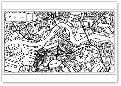 Rotterdam City Map Outline - Koelkast Magneet