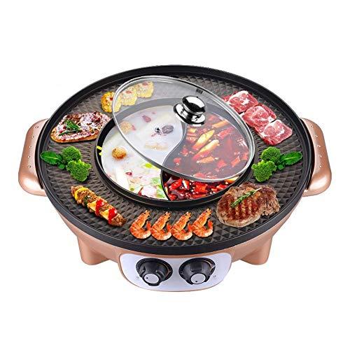 JOSN Elektrischer koreanischer BBQ-Grill, Hot Pot Tischgrill und Rauchloser Fondue-Kocher Antihaftbeschichtet Elektrischer Hot Pot,Gold