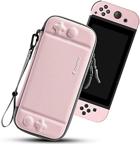 Nintendo Switch対応 tomtoc ハードケース スイッチ 耐衝撃 薄型 キャリングケース 落下試験済み 撥水表面 ゲーム 10枚収納 ジョイコン 全面保護 ストラップ付き ピンク