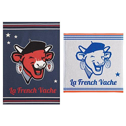 Coucke Lot d'un torchon et Un carré éponge Rit French Vache, Coton, Bleu, 75x50 cm