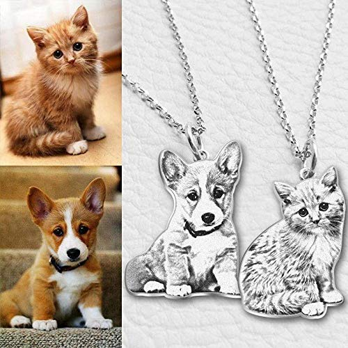 Custom Picture Necklace Personalized Pet Cat Dog 925 Silver Photo Engraved Pendant Gift for Pet Lover