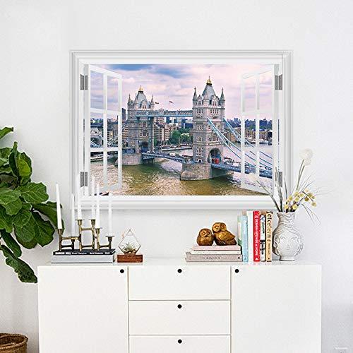 London Thames River Tower Bridge Pegatinas de pared para la sala de estar Decoraciones Paisaje Adesivos De Parede 3d calcomanías de la ventana
