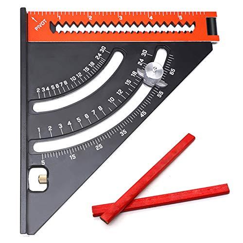 Rafter Square, Triángulo plegable Regla cuadrada, cuadrado de carpintero extensible con lápices de carpintería 2pc, herramienta de diseño de posicionamiento de ángulo ajustable de aleación de aluminio