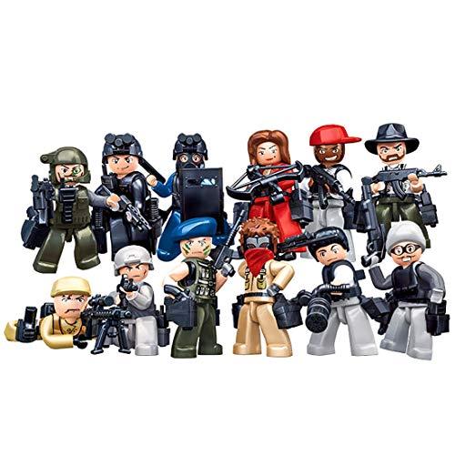 Tosbess 12 Piezas Minifiguras y Arma, Policía Y Gangsters Mini Figuras,Bloque de construcción para Niño Adulto