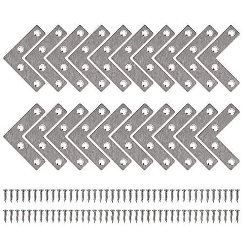 Soporte de Esquina de Placa Plana Estante de Ángulo en Forma L Acero Inoxidable Corner Brace con Tornillos para Silla Mueble Ventana 50 * 50mm 20 Piezas
