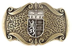 Trachten Gürtelschliesse, Gürtelschnalle mit Landeswappen - Krone und Löwe! Wechselschnalle, Farbe messing