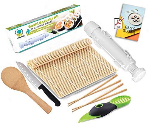 Chefoh AllInOne Sushi Making Kit   Sushi Bazooka Sushi Mat 2 Pair Bamboo Chopsticks Avocado Slicer Sushi Knife Bamboo Rice Paddle Set   Includes Sushi Recipe PDF Booklet