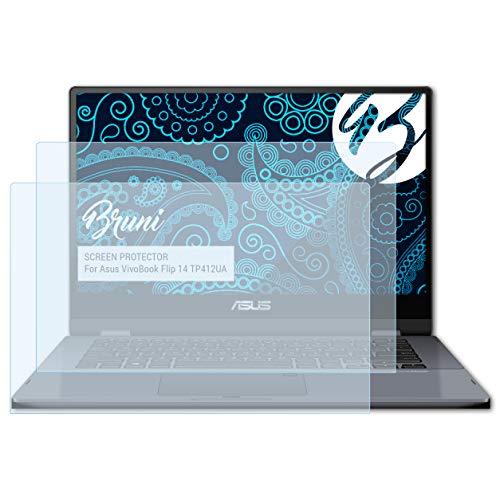 Bruni Película Protectora Compatible con ASUS VivoBook Flip 14 TP412UA Protector Película, Claro Lámina Protectora (2X)