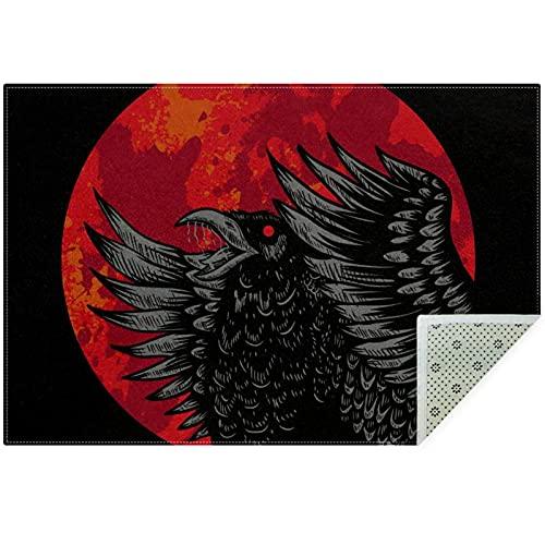 Bennigiry Crow Red Blood MoonArea - Alfombra para sala de estar, dormitorio, sala de juegos, 160 x 119 cm