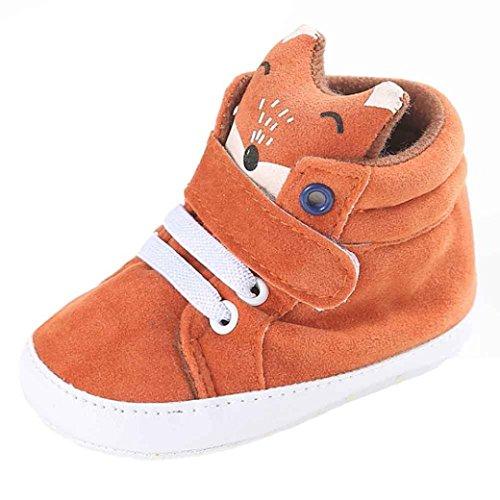 BZLine - Unisexe Bébé Forme Renard Chaussure en Coton - Semelle à Tissu - Souple (0~6 Mois, Orange)