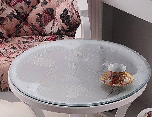 Nappes Ronde en Verre Souple PVC Transparent Imperméable À l'eau Mat Table en Plastique Lattice (1.5mm) (Taille : 70 cm*2 Pieces)