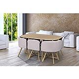 Ensemble Table + 6 chaises encastrables Beiges Mosaic XL