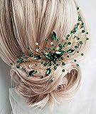 BERYUAN - Peine para el pelo con forma de lágrima, color verde esmeralda y verde
