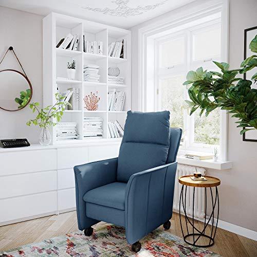 place to be. Sillón de relax pequeño XXL con función reclinable y función de dormir sobre ruedas ligeras, silla de televisión con ruedas, color azul