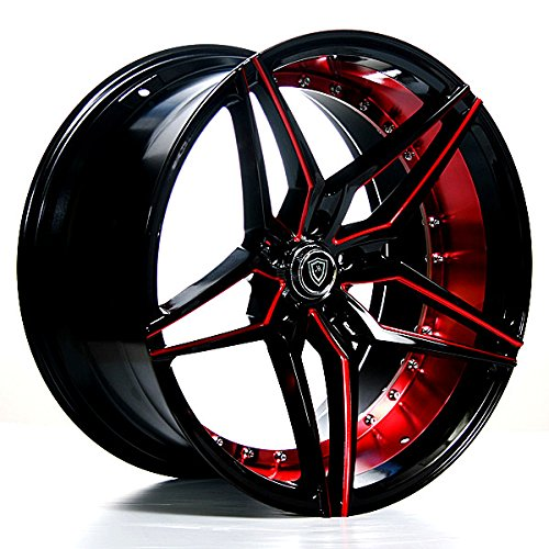 Marquee MQ 3259 – 20 Inch Staggered Rims – Set of 4 Black and Red Wheels – Sports Racing Cars – Fits Challenger, Charger, Mustang, Camaro, Cadillac and More (20x9 / 20x10.5) – Car Rim Wheel Rines