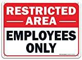 Faittoo Restricted Area Employees Only Sign, 10 x 7 Inches .40 Rust Free Aluminum , UV Protected, Weather Resistant, Waterproof, Durable Ink, Easy To Mount