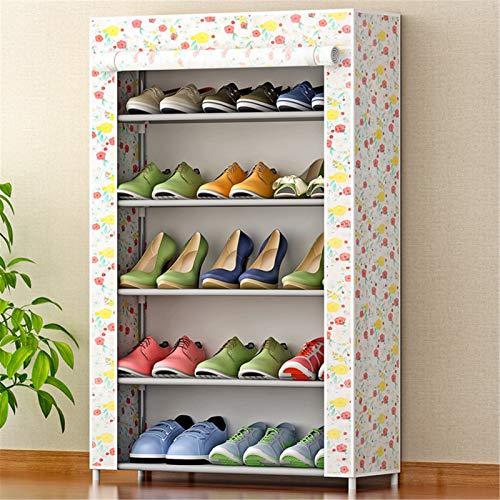 Tollmllom Zapatero Multifuncional 15 Pares de bastidores de Zapatos para Armario de Zapatos de Metal no Tejidos 5 Capas de gabinetes de Torre Uso Amplio (Color : A2, Size : 60x30x91cm)