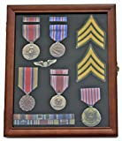 Medal Display Case Award Shadow Box, with Glass Door, Wall Mountable, Walnut Finish