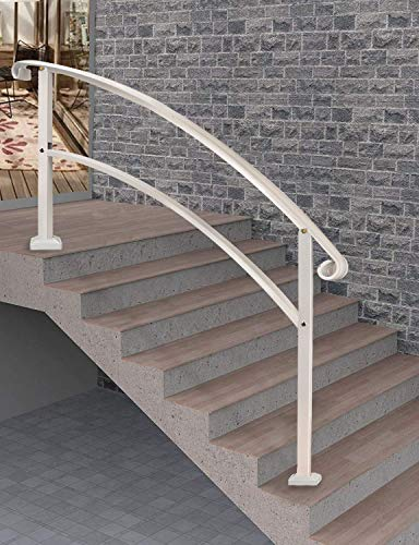 Outdoor Stair Railing, Handrails for Outdoor Steps 5 Step Handrail Fits 1 to 5 Steps Transitional Handrail with Stair Railing Kit(White)