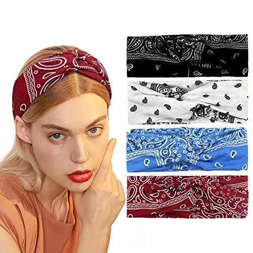Pwhyi Diadema para mujer, vintage, estampada, elegante, elástica, suave, para yoga, deporte, accesorios para el pelo (4 unidades)