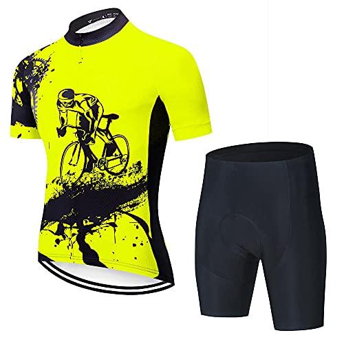 HXTSWGS Ropa Ciclismo Verano para Hombre Ciclismo Ropa,Equipo Profesional de Bicicletas de Manga Corta, Camiseta de Ciclismo para Hombre, Conjuntos de Ropa de Ciclismo Transpirable de verano-A19_3XL