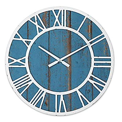 Shinedecor Decor Wall Clock 24 Inches, Wooden Decorative Clock Large Size with Roman Numerals for Home, Office & School, Round, Battery Operated, Weathered Sky Blue