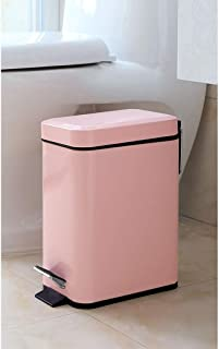 LYSOZ Tipo de pedal de cocina de metal con contenedor de basura con tapa Canasta de almacenamiento de contenedores de reciclaje desmontable de residuos de esquina desmontable cuadrado 5L multicolor op