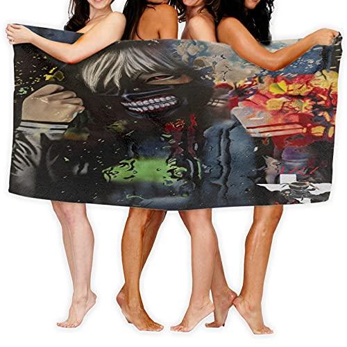 Large Puzzle Ken Kaneki de Tokio Ghoul Toalla Wrap Turbante de Pelo Set Suave Microfibra Usable Spa Ducha Bañera Abrigo sin Tirantes Cubierta Toallas Tubo Vestido