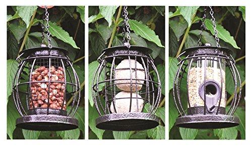 Set of 3 Mini Caged Hanging Lantern Wild Bird Feeders Seeds Nuts & Fat Balls Squirrel Guard