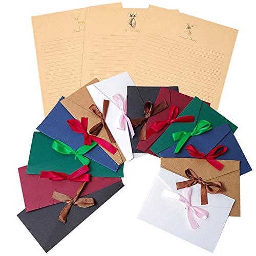 レターセット 封筒 14枚 便箋 24枚 シンプル アンティーク メッセージカード 封筒付 グリーティングカード バースデーカード リボン付き おしゃれ カラーセット