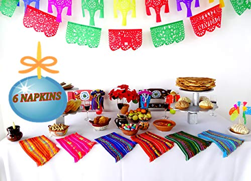 """Mexican Fiesta Cloth Napkins, Fiesta Party Supplies in Assorted Colors, Bulk Set of 6 for Cinco de Mayo, Mexican Weddings, Coco Size 14x20"""" Nap001"""