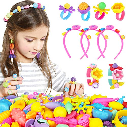 YiRAN Pop Beads - 150+ Pcs DIY Jewelry Making Kit for Toddlers 3, 4, 5, 6, 7 ,8 Y, Kids Pop Snap Beads Set to Make Hairband, Necklaces, Bracelets, Rings and Art & Crafts Creativity Toys for Girls Boys