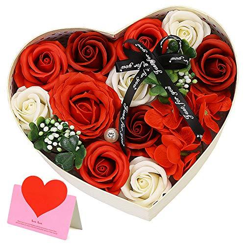 Unisoul Flor de Jabón en Caja de Regalo, Jabones Perfumados de Rosa, Flores Artificiales, Ideal para Decoración de Bodas en el Hogar, Regalo de San Valentín,Regalos para el Dia de la Madre,Rojo