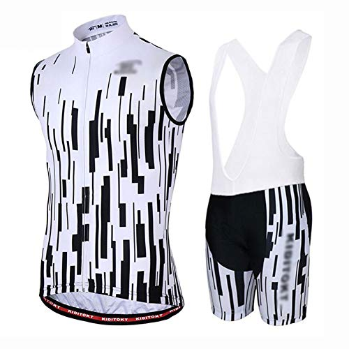 YXX Cycling Jersey And Shorts Set Men Breathable Vest Bicycle Clothing MTB Biking Jacket Tight,White,M