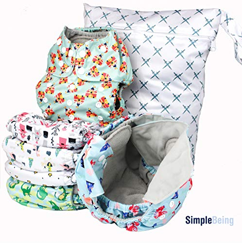 Simple Being Reusable Cloth Diapers, Double Gusset, One Size Adjustable, Washable Soft Absorbent, Waterproof Cover, Eco-Friendly Unisex Baby Girl Boy, six 4-layers microfiber inserts (Knights Dragons)