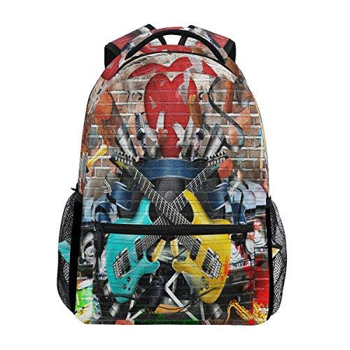 Rucksack mit Gitarre, Collage, wasserdicht, für Schule, Gymnastikrucksack, helle Musik, Laptoptasche, Outdoor-Reisetasche für Kinder, Jungen, Mädchen, Damen, Herren