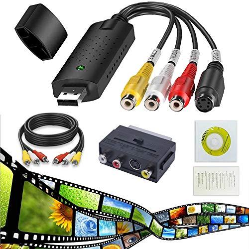 MISSJJ Video Grabber und VHS zu PC Audio, MISSJJ VHS Video Digitizer Adapter, DVD TV Videorecorder, VHS VCR DVR zu Digital Konverter