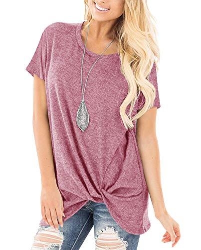 Yidarton Damen T-Shirt Sommer Rundhals Tunika Lose Oberteil Asymmetrisch Bluse Tops (C-Rosa, L)