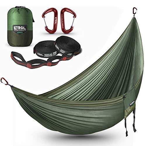ETROL Hängematte Camping Ultraleichte | 2 Personen| 300X200cm | 300kg Tragkraft,Tragbare Hängematte für Reisen, Indoor, Outdoor Backpacking, Beinhaltet Baumgurte und Karabiner aus Aluminiumlegierung