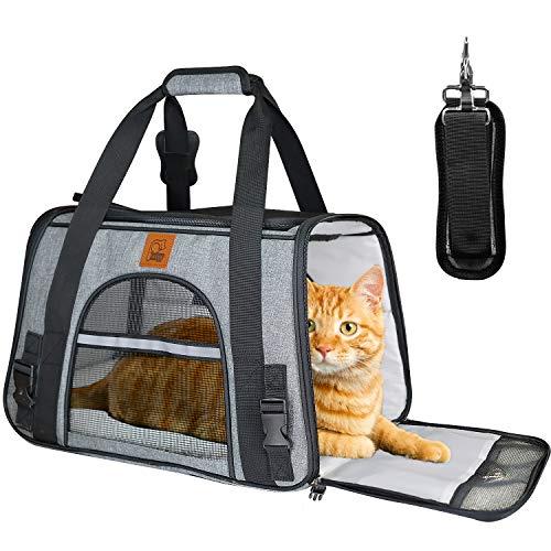 Transportín Perro Gato, Bolsa de Transporte Plegable para Mascota, Portador Transpirable de...