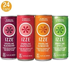 IZZE Sparkling Juices include 70 percent fruit juice with a splash of sparkling water No added sugar or preservatives The perfect feel good drink to brighten up your day Variety Pack includes (6) 8.4 ounces cans of Sparkling Blackberry,  (6) 8.4 ounc...