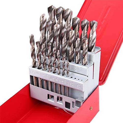 JKCKHA 25Pcs 1-13mm Twist Drill Bit Set HSS Speed Steel Wood Drilling Kit Metal Metric High Power Tool Drill
