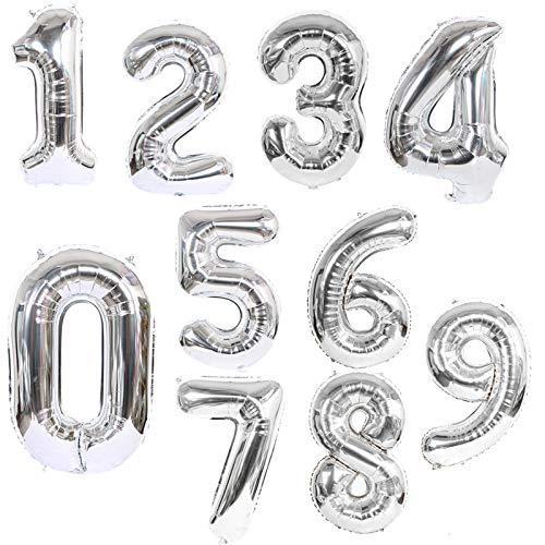 Silber Folienballon Zahl 0 1 2 3 4 5 6 7 8 9 Geburtstag Nummer Ballons Partydekorationen Zahl Helium Folienballon Riesen Ballon für Geburtstag Party Dekoration fur Damen Herren 0 bis 9 Nummer