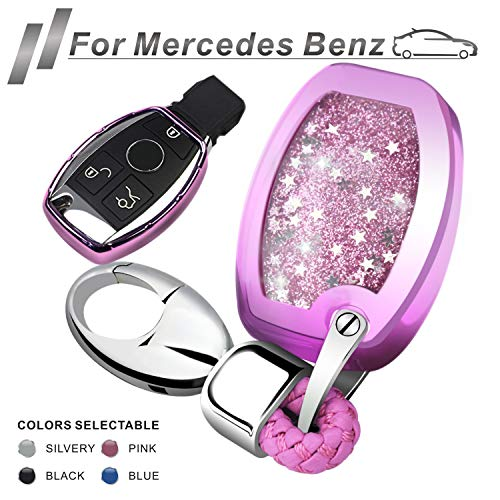 RYE for Mercedes Benz Key Fob Cover with Glitter Liquid Quicksand,Flowing Bling Sparkle Key Fob Case Fit Benz A B C E G S R M G CLS CLK GLK GLC Class Keyless Smart Key Fob - Pink