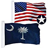 G128 Combo Pack: USA American Flag 3x5 Ft Embroidered Stars & South Carolina State Flag 3x5 Ft Embroidered