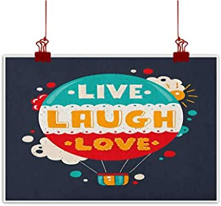 Sunset glow Canvas Prints Wall Art Live Laugh Love,Cartoon Style Line Art Figures Stars Cubes Circles and Hearts Cheerful, Multicolor for Bathroom Bedroom Pictures
