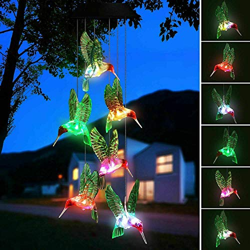 Hummingbird Solar Light, Epicgadget Solar Bird Wind Chime Color Changing Outdoor Solar Garden Decorative Lights for Walkway Pathway Backyard Christmas Decoration Parties (Green Wing Hummingbird)