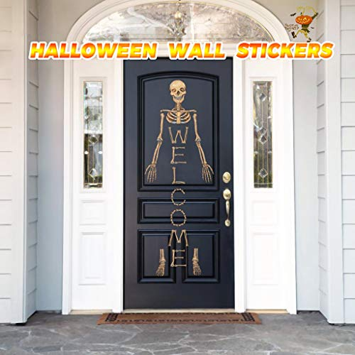 Shan-S Door Mural Halloween Ghost Door Sticker Peel and Stick Wallpaper Door Decal Horrible Skull Adhesive Room Decors Removable Home Decoration for Bar Club Kids Room Bedroom