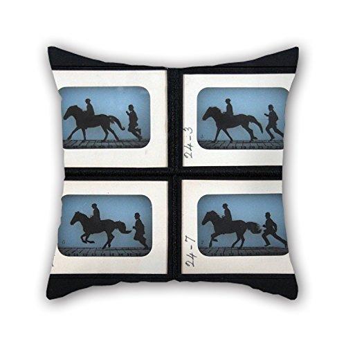 N\A Pintura al óleo Eadweard Muybridge - Leland Stanford Jr. En su Pony Fundas de cojín 'Gypsy' Regalo o decoración para Comedor Sala de Juegos Divan Club Silla Interior - Dos Lados
